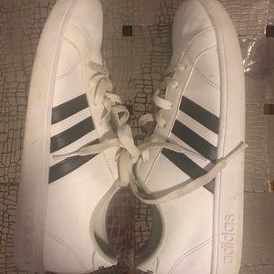 Adidas boys navy and white sneakers